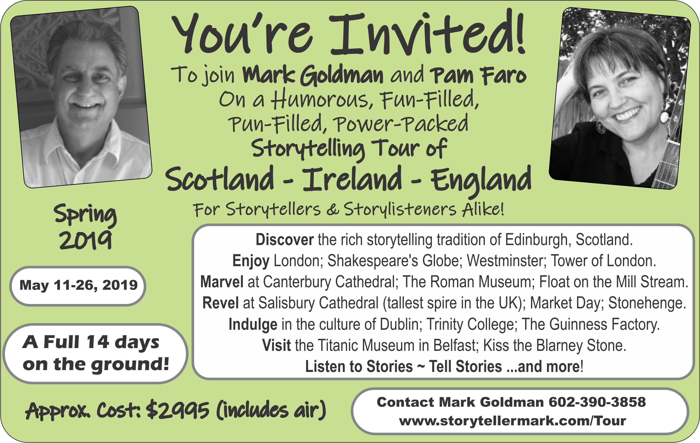 8a64dab18b Pam and I are planning the 2019 Historical Hysterical  Scotland-Ireland-England Storytelling Tour. This year